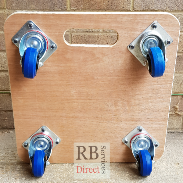 Relocation Skate 480 x 480mm Rubber Topped and 80m Blue Non-marking Castors Bottom