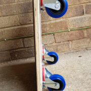 Relocation Skate 580 x 580mm Rubber Topped and 80m Blue Non-marking Castors Side with Watermark