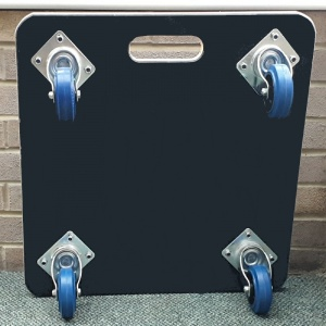 600 x 600 x 18mm, Fine Ribber Rubber Topped, Large Carry Handle, 100mm Blue Rubber Non Marking Castors, Black PVC Covered Base and Dual Colour Vinyl Company Logo