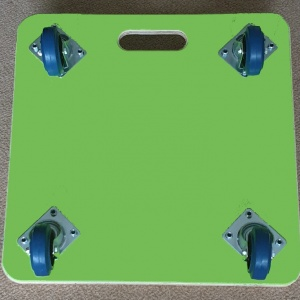 600 x 600 x 18mm, Fine Ribber Rubber Topped, Large Carry Handle, 100mm Blue Rubber Non Marking Castors, Green PVC Covered Base and Dual Colour Vinyl Company Logo