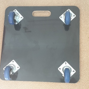 600 x 600 x 18mm, Fine Ribbed Rubber Topped, Large Carry Handle, 100mm Blue Rubber Non Marking Castors, Grey PVC Covered Base and Dual Colour Vinyl Company Logo