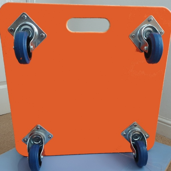 600 x 600 x 18mm, Fine Ribbed Rubber Topped, Large Carry Handle, 100mm Blue Rubber Non Marking Castors, Orange PVC Covered Base and Dual Colour Vinyl Company Logo