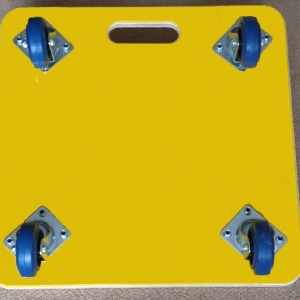 600 x 600 x 18mm, Fine Ribbed Rubber Topped, Large Carry Handle, 100mm Blue Rubber Non Marking Castors, Yellow PVC Covered Base and Dual Colour Vinyl Company Logo